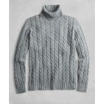 Golden Fleece 3-D Knit Marled Alpaca-Blend Turtleneck Cable Sweater