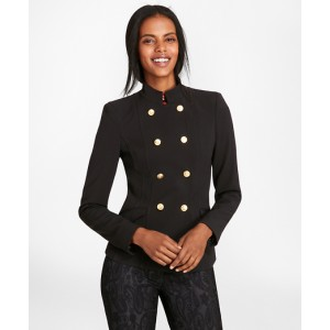 Petite Stretch Wool Cavalry Twill Double-Breasted Jacket