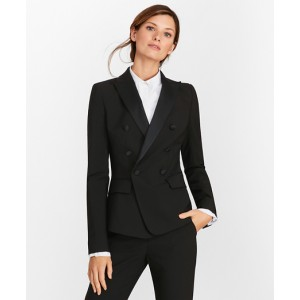 Petite Stretch-Wool Crepe Double-Breasted Tuxedo Jacket