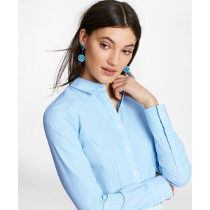 Petite Non-Iron Tailored-Fit Striped Stretch-Cotton Poplin Shirt