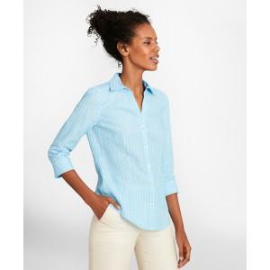 Petite Tailored-Fit Striped Linen Three-Quarter-Sleeve Shirt