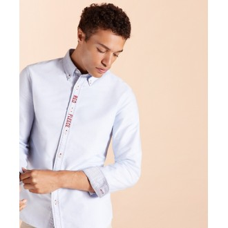 Red Fleece Embroidered Cotton Oxford Shirt