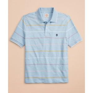 Striped Slub Cotton Jersey Polo Shirt