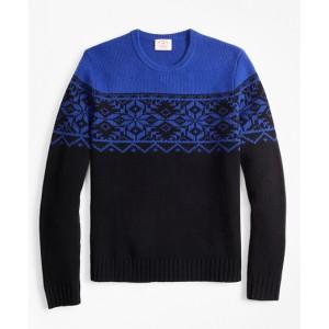 Merino Wool-Blend Snowflake Crewneck Sweater