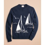 Cotton Sailboat Crewneck Sweater