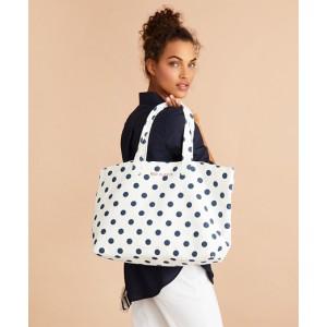 Polka-Dot Canvas Tote Bag