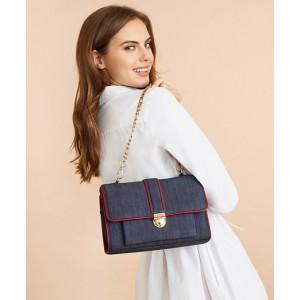 Denim Chain-Strap Shoulder Bag