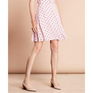 Polka-Dot Crepe Pleated Skirt