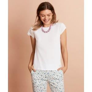 Floral Lace-Trimmed T-Shirt