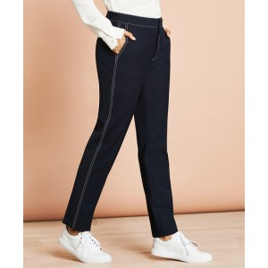 Topstitched Wool-Blend Pants