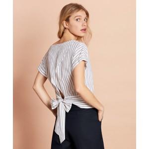 Shimmer Stripe Linen-Cotton Tie-Back Blouse