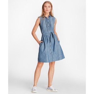 Pintucked Cotton Chambray Shirt Dress