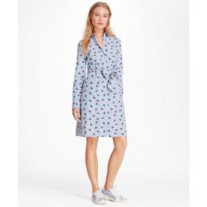 Rose-Print Striped Cotton Poplin Shirt Dress