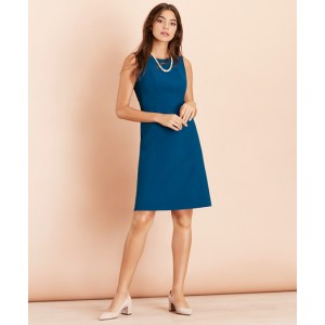 Lace-Hem Wool-Blend Twill Dress