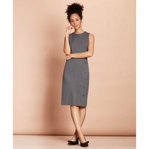 Pinstripe Stretch-Wool Button-Slit Sheath Dress