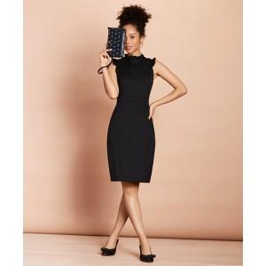 Ruffle-Trimmed Stretch-Wool Sheath Dress