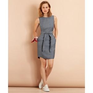 Polka-Dot Chambray Dress