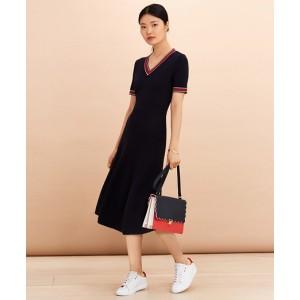 Stripe-Trimmed Midi Sweater Dress