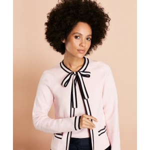 Tie-Neck Tipped Cotton Cardigan