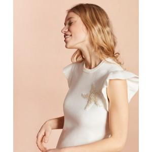 Starfish-Beaded Cotton Flutter-Sleeve Sweater