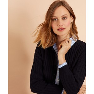 Wool-Cotton Cable-Knit Cropped Cardigan