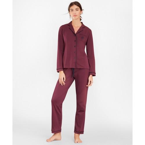 브룩스 브라더스 Logo-Embroidered Pima Cotton Interlock Jersey Pajama Set