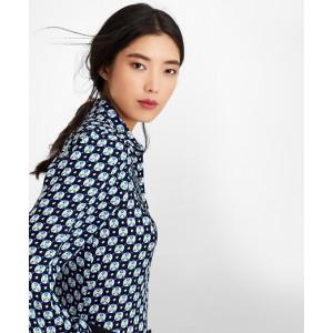 Floral-Print Silk Chiffon Blouse