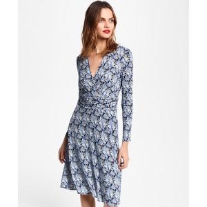 Bamboo-Print Jersey Faux Wrap Dress
