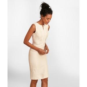Soutache-Embroidered Linen Sheath Dress