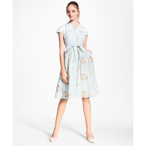 Floral-Embroidered Striped Cotton-Silk Shirt Dress
