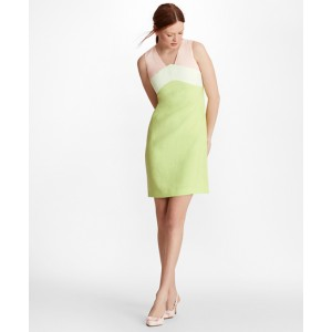 Colorblock Linen-Blend Dupioni Shift Dress