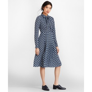 Floral-Print Silk Chiffon Shirt Dress