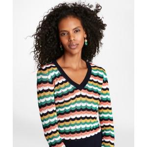 Scalloped Stripe Pointelle Sweater
