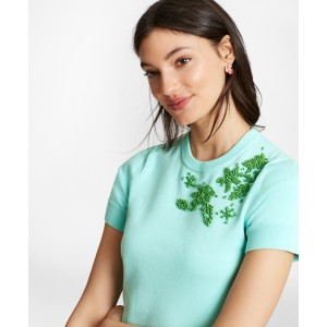Floral-Beaded Cotton Short-Sleeve Shell