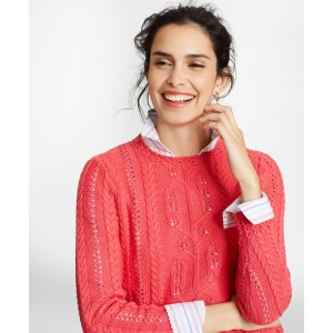 Supima Cotton Pointelle Cable-Knit Sweater