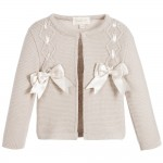 Girls Beige Cotton Cardigan with Bows