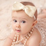 Ivory & Gold Lace Bow Headband with Pearls