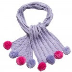 Pink & Purple Cable Knit Bobble Scarf (108cm)