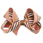 Brown, White & Pink Striped Hair Clip (8cm)