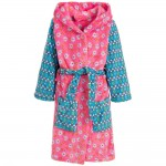 Girls Pink & Blue Floral Bathrobe