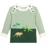 Baby Boys Green Cotton Knit Sweater