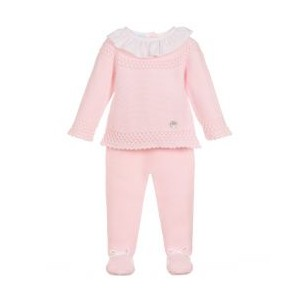 Pink Knitted 2 Piece Babygrow