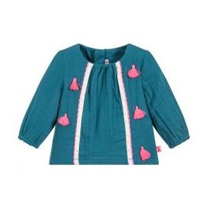 Baby Girls Blue Cotton Blouse