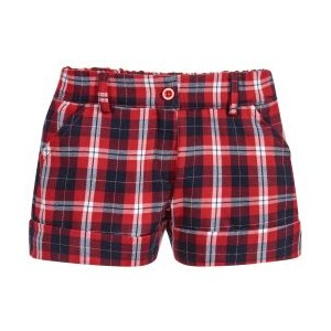 Girls Red Check Cotton Shorts