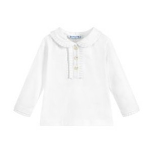 Girls Ivory Cotton Jersey Top