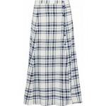 Checked woven midi skirt