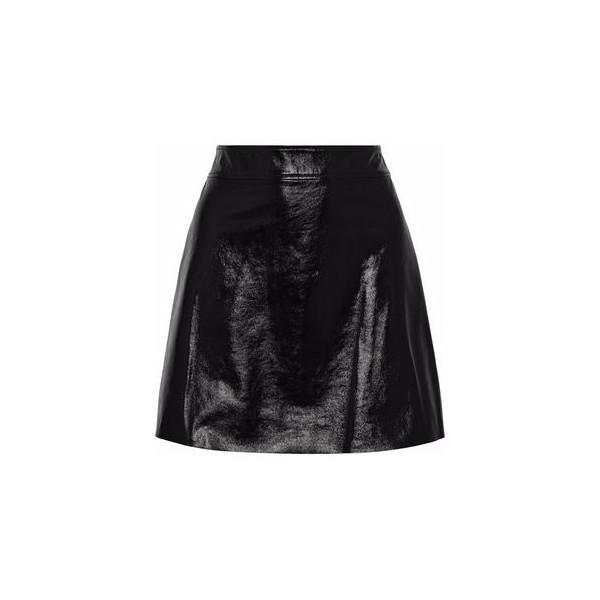 Crinkled patent-leather mini skirt