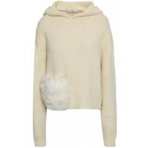 Faux fur-trimmed alpaca-blend hoodie