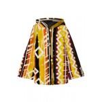 Printed shearling hooded poncho