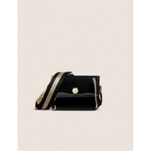 CLEAR FLAP COLORBLOCKED CROSSBODY